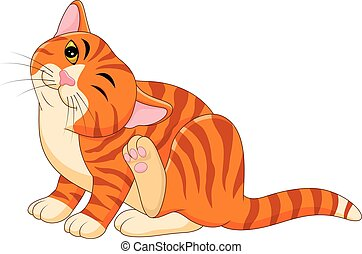 Cartoon itchy cat scratching - Vector illustration of...