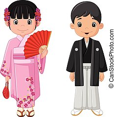Cartoon Japanese couple wearing traditional costume
