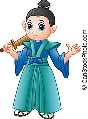 Cartoon japanese samurai warrior with wooden sword