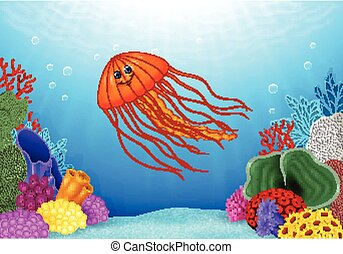 Cartoon jellyfish with beautiful un