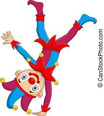 Cartoon jester standing upside down