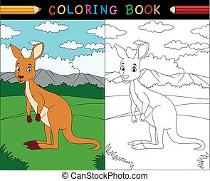 Cartoon kangaroo coloring book