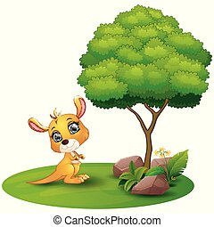 Cartoon kangaroo under a tree on a white background