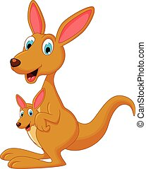 Cartoon kangaroo with her child - vector illustration of...