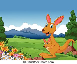 Cartoon kangaroo with her child