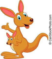 Cartoon kangaroo with her child