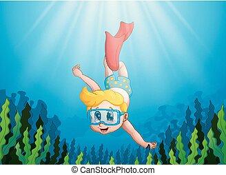 Cartoon kid diving underwater