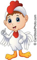 Cartoon kid in a chicken costume giving thumbs up