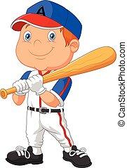 Cartoon kid playing baseball