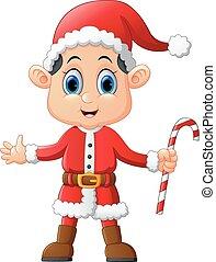 cartoon kid wearing santa costume