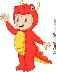 Cartoon kid with Halloween dragon costume