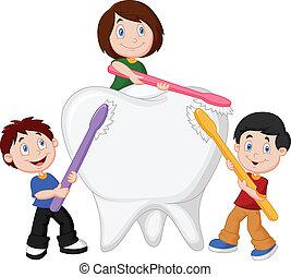 Cartoon Kids brushing white tooth
