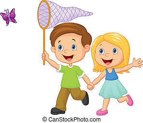 Cartoon kids catching butterfly