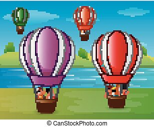 Cartoon kids flying in a hot air balloon at the riverbank