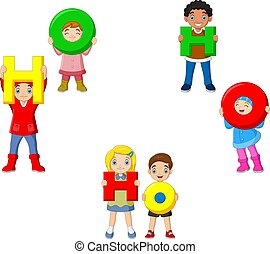 Cartoon kids holding letter with word HOHOHO - Vector ...