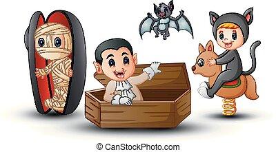 Cartoon kids in Halloween costumes