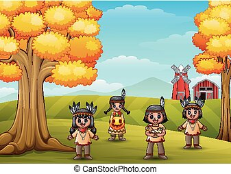 Cartoon kids native Indian American in farm background