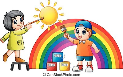 Cartoon kids painting rainbow and sun