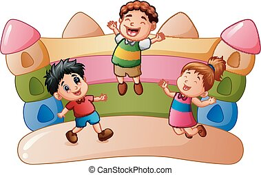 Cartoon kids playing at the bouncing house - Vector...
