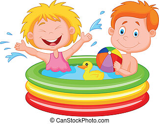 Cartoon Kids Playing in an Inflatab - Vector illustration of...