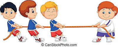 Cartoon Kids playing tug of war