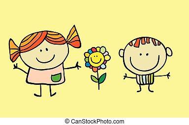 Vector Illustration of cartoon Kids Playing
