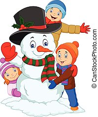 Cartoon kids playing with snowman isolated on white background