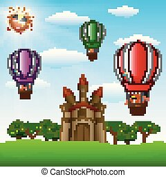 Cartoon kids riding in a hot air balloon near the castle