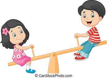 Vector illustration of Cartoon Kids see saw