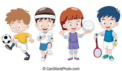 Vector illustration of Cartoon kids sports characters