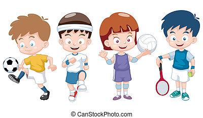 kids - Vector illustration of Cartoon kids sports characters