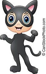 Cartoon kids wearing costume a cat