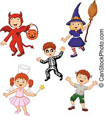 Cartoon kids wearing Halloween