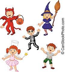 Cartoon kids wearing Halloween
