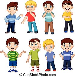 Cartoon kids with different Expresion