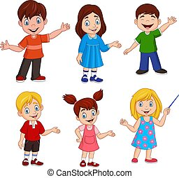 Cartoon kids with different posing