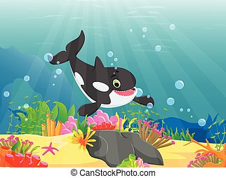 cartoon killer whale with a beautiful underwater world
