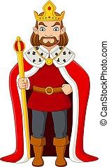 Cartoon king holding a golden scepter - Vector illustration ...