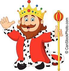 Cartoon king holding a golden scept - Vector illustration of...