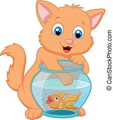 Cartoon Kitten Fishing for Gold Fi - Vector illustration of...