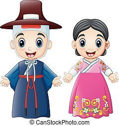 Cartoon Korean couple wearing traditional costumes