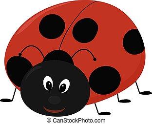 Vector illustration of cartoon Lady bug - Vector...