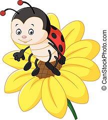 Cartoon ladybug on the sun flower