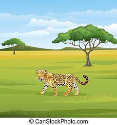 Cartoon leopard in the savannah