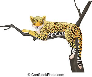 Cartoon leopard lying on a tree branch - Vector illustration...