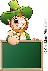 Cartoon Leprechaun giving thumbs up with chalkboard sign