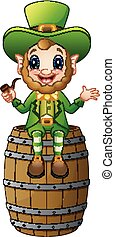 Cartoon Leprechaun sitting on barrel and holding a smoking pipe