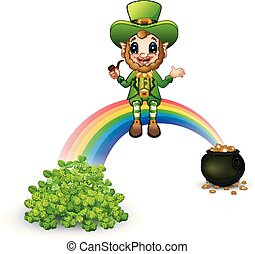Cartoon leprechaun sitting on the rainbow with Pot full of golden coins and clovers
