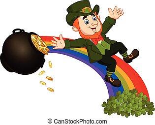 Cartoon leprechaun sliding down the rainbow - Vector...
