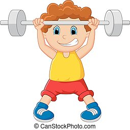 Cartoon lifting barbell
